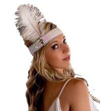 Женская головная повязка с индийским пером головной убор с эластичной лентой для костюма вечерние украшения для волос
