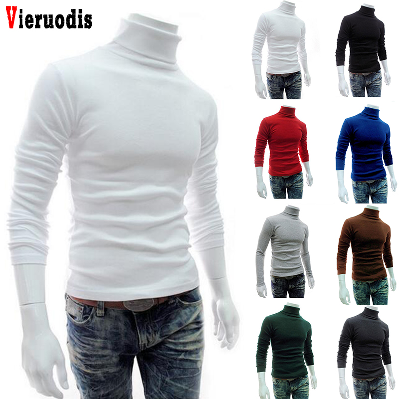 Knitted Pullovers New Men Turtleneck Sweater Long Sleeve Solid Slim Fit Thin Knitted Pullover Mens Basic Style Sweaters Clothing