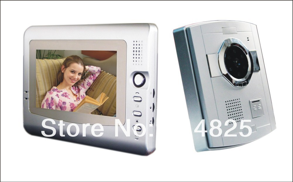 Free Shipping +hot selll 7 inch color handfree plastic camera video door phone door bell intercom systems night vision xsl v70f id free shipping hot sale handfree video door phone intercom system with night vision and unlocking by id card reader