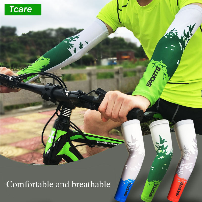 1Pair UV Protection Cooler Arm sleeves Unisex Men Women Sun Protection Arm Cover Sleeve for Bike/Hiking/Running/Golf