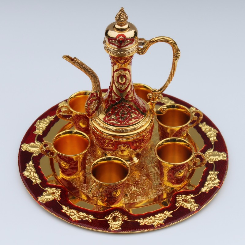 Handwork Chinese 12 plate gold & red color metal wine /tea fashion zinc alloy decorative wine  Decoration Silver BrassHandwork Chinese 12 plate gold & red color metal wine /tea fashion zinc alloy decorative wine  Decoration Silver Brass