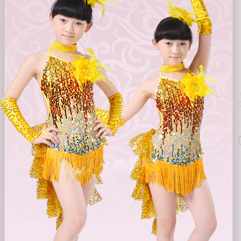 Gorgeous Paillette Tassel Children Dance Clothes Fashion Kids Applique Latin Dresses with Head Flower Girls Performing Costume 3colors 100 160cm height kids child girls tassel dress ballroom latin salsa fashion dancewear dance costume dresses gifts