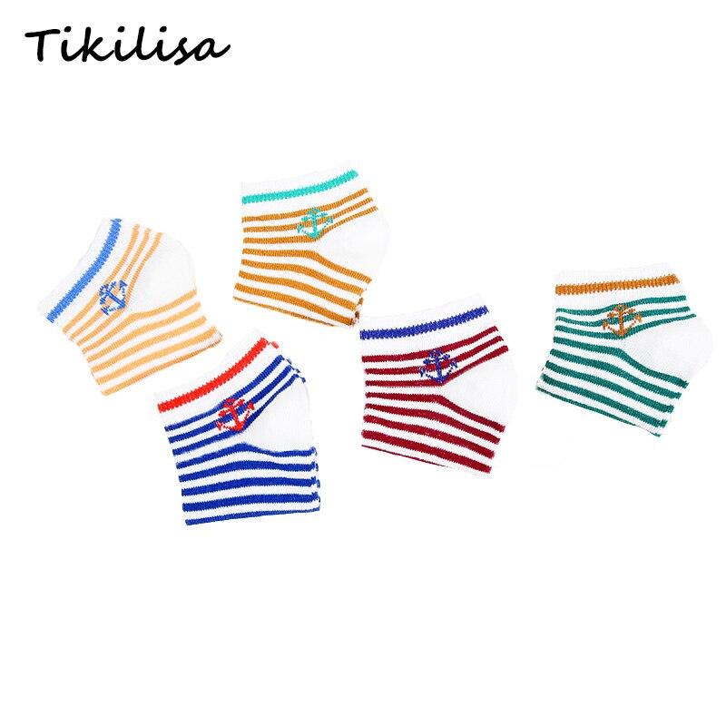 5 pairs lot New Cotton Brand Soft Boys Girls Socks Cute Anchor Stripe Stars Summer Kids Socks Baby Boy Styles Warm Socks 1-9Y 3