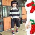 1 pair New Arrival Korean Style Toddlers Kids Girls Socks 2 Colors Strawberry Pattern Pop
