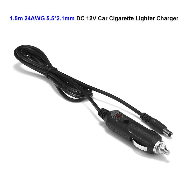 10pcs DC 5.5 x 2.1mm Car Charger 1.5m 5ft Cable 12V Car Cigarette Lighter Power Adapter Plug For Battery Charger Truck Bus
