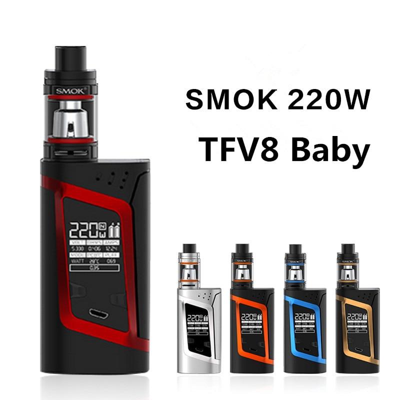 Original SMOK ALIEN Kit 220W Box Mod 3ml TFV8 Baby Tank Atomizer electronic cigarette vape Kit original 220w smok alien vape kit with smok tfv8 baby tank 3ml atomizer