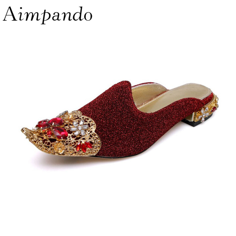 Luxury Diamond Decor Slippers Individual Pointy Toe Comfort Shallow Retro Square Heel With Rhinestone ShoesLuxury Diamond Decor Slippers Individual Pointy Toe Comfort Shallow Retro Square Heel With Rhinestone Shoes