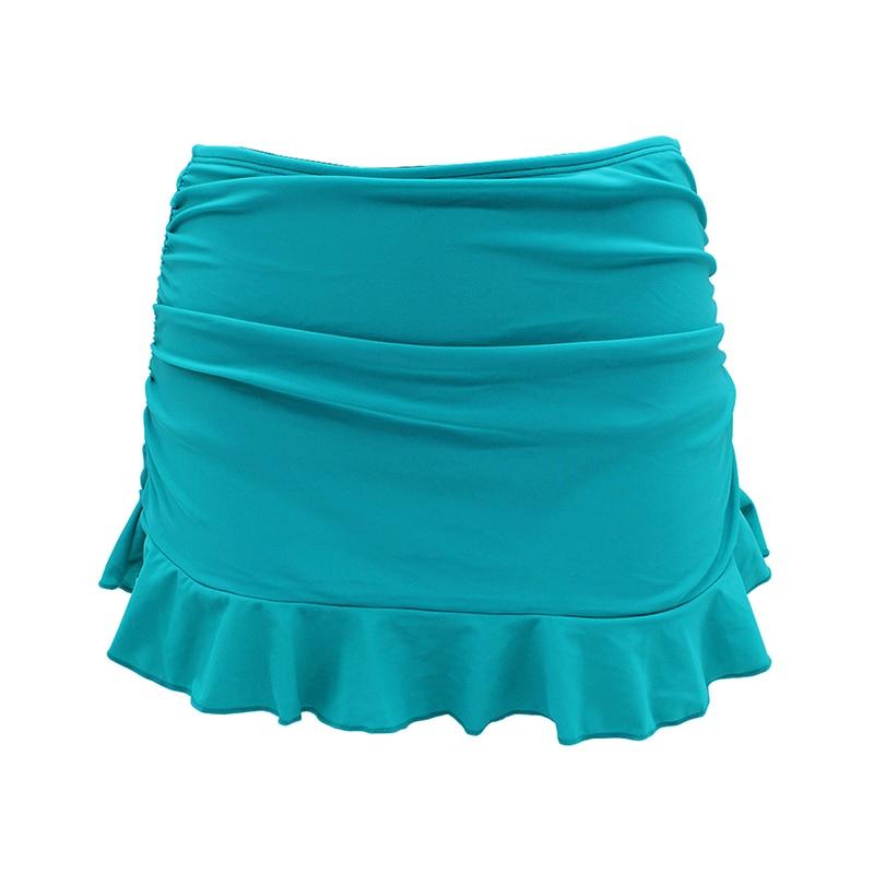 SHEKINI Swim Skirt Women Middle Waist Swim Dress Shirred Bottom Ruffles Beach Swimwear Culottes