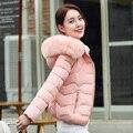 Женщин Куртки Вниз Парки Короткие Пальто 2016 Зима Меховая Шапка Пальто толстый И Пиджаки Молнии Пальто Женщин Розовый Синий Черный Белый Серый 3XL