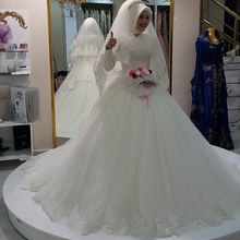 MZYW0322 full long sleeve lace applique beaded ball gown vestido de novia muslim hijab wedding dress