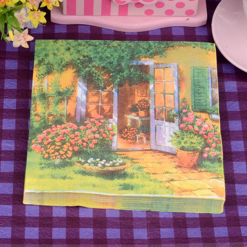 Green Courtyard Fresh Paper Napkin Festive & Party Cafe Tissue Napkins Decoupage Decoration Paper 33cm*33cm 20pcs/pack/lot