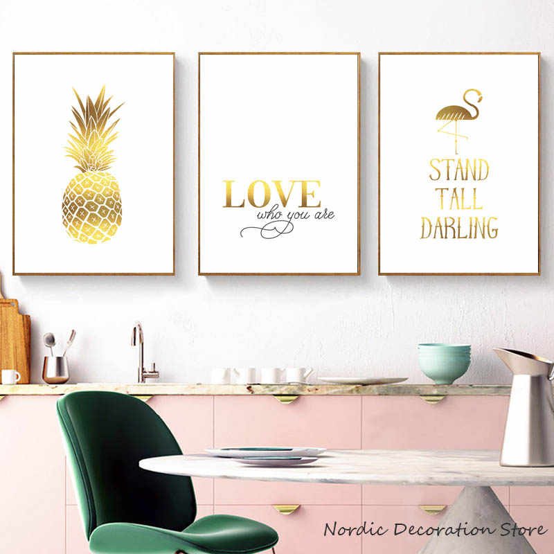Nordic Yellow Painting Pineapple Flamingo Poster Gold Love Letter Posters And Prints Canvas Pictures For Living Room Unframed