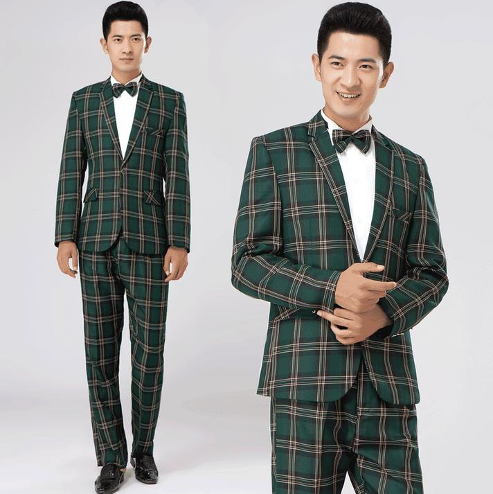 Aliexpress.com : Buy Green brown plaid formal dress male suit set ...