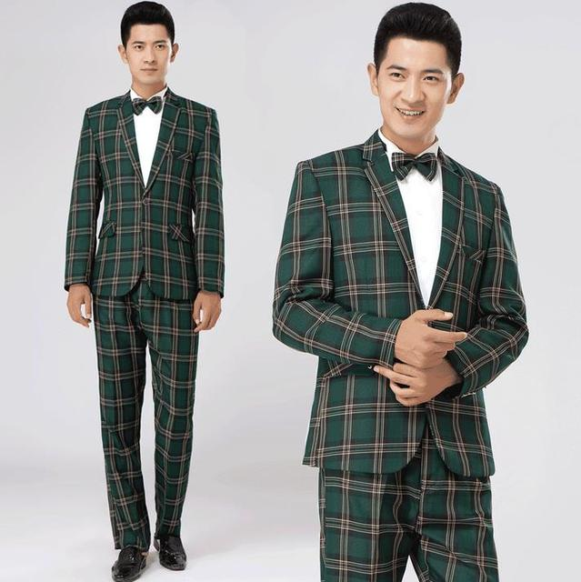 Aliexpress.com : Buy Green Brown Plaid Formal Dress Male