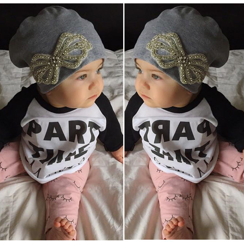 2pcs Newborn Baby Girls Boys Clothing Set Cotton T-shirt Tops + Long Pants Letter Outfits Set Clothes