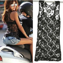 Sexy Women Loose Casual Floral Lace Sleeveless Vest T Shirt Blouse Tops