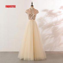 FADISTEE Новое поступление вечерние элегантные платья для выпускного вечера Vestido de Festa платье Robe De Soiree кружева v-образным вырезом блесток платья цвета шампанского