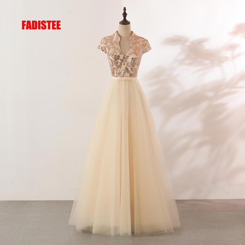 FADISTEE New arrival evening elegant   prom     dresses   Vestido de Festa gown Robe De Soiree lace V-neck sequin champagne   dresses