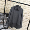 Casual Patchwork Knitting Blouse Women Plus Size 3XL Sriped Turn-down Collar One Piece Long Sleeve Blouse Shirt KK2048
