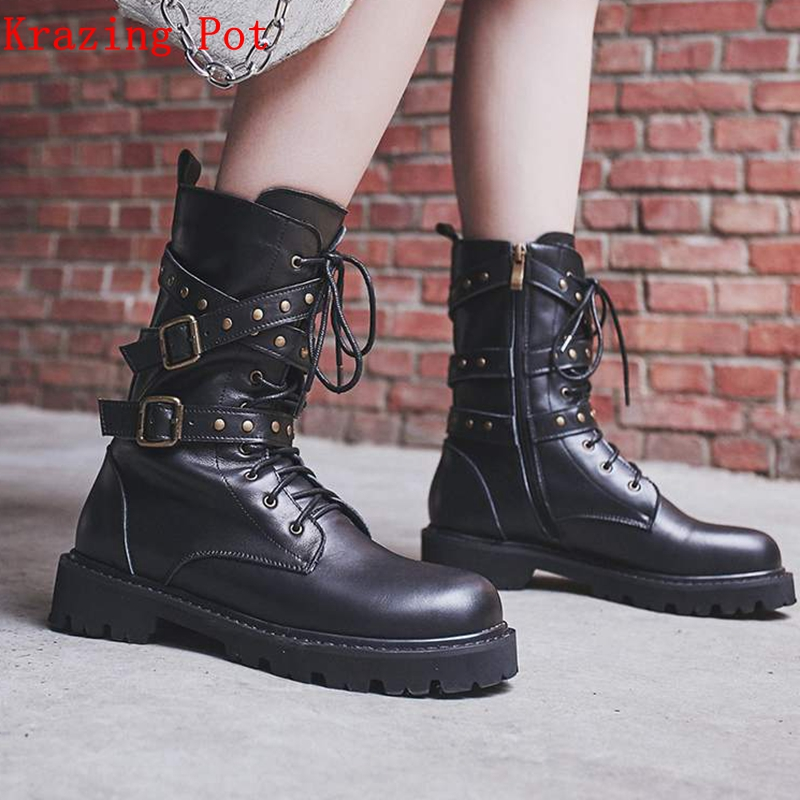 Krazing Pot hot selling natural cow leather low heels punk rock boots streetwear beauty buckle rivets luxury mid-calf boots L03