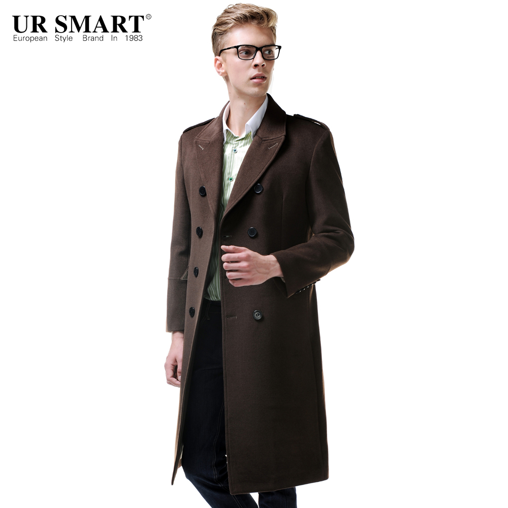 60846374230 URSMART 2015 new products listed double-breasted super long men s coat  frock-coat wool coat