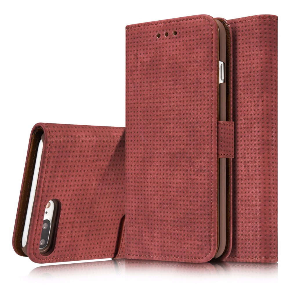 For Apple iPhone 7 7 Plus Case Retro mesh PU leather + PC craft phone case Cover Wallet Magnetic Flip Stent Card slot