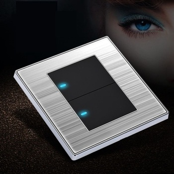 High Quality Click Wall Switch 2 Gang 1 Way/ 2 Way Brushed Stainless Steel Panel LED Indicator Light Black Gold 1