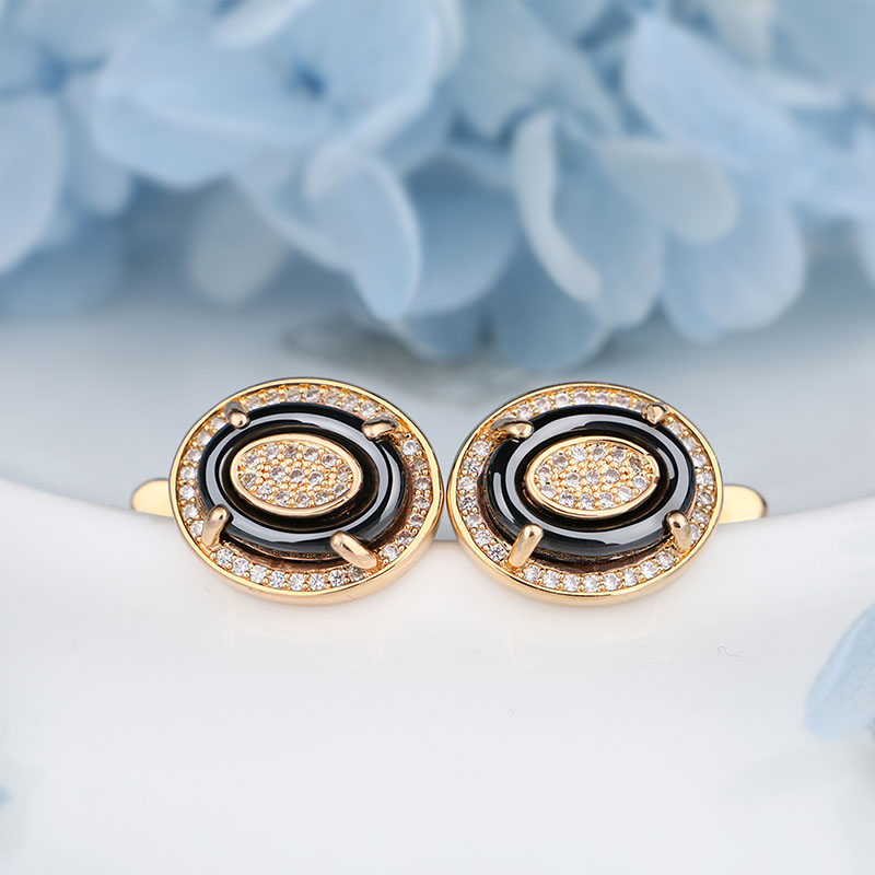 Classic Women Stud Earrings Rose Gold Gold Color With Bling Rhinestone Black White Stud Earrings With Russian Button Beautiful in Stud Earrings from Jewelry Accessories