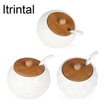 Ceramic White Caster Seasoning Pot Glass Cover Ceramic Spoon Spice Jar 3 Designs Available  Simple Elegant Salt Sugar Bowl