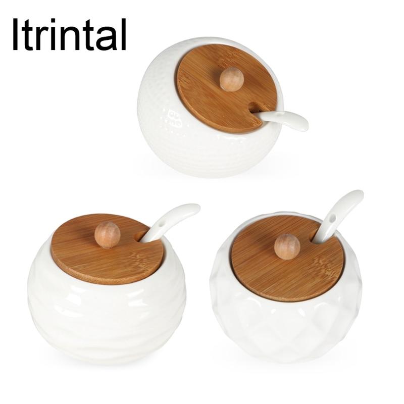 Keramik Weiß Caster Gewürztopf Glas-abdeckung Keramik Löffel Gewürzglas 3 Ausführungen Erhältlich Einfache Elegante Salz Zuckerdose