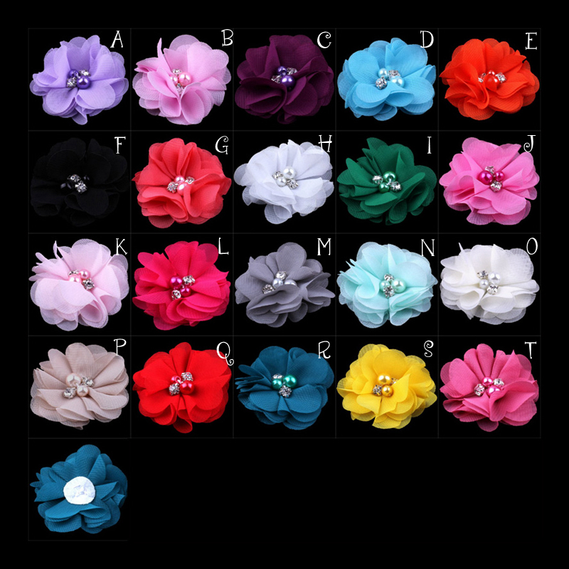 (30pcs/lot)2 20 Colors Mini Chiffon Flowers With Pearl Rhinestone Center For Hair Clips Lace Flower For Baby Hair Accessories