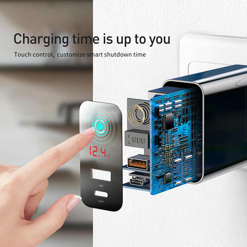 Baseus 45W Lcd Display Usb Charger Met Quick Charge 4.0 3.0 Voor Redmi Note 7 QC3.0 Pd Snelle Telefoon oplader Voor Iphone 11 Pro Max