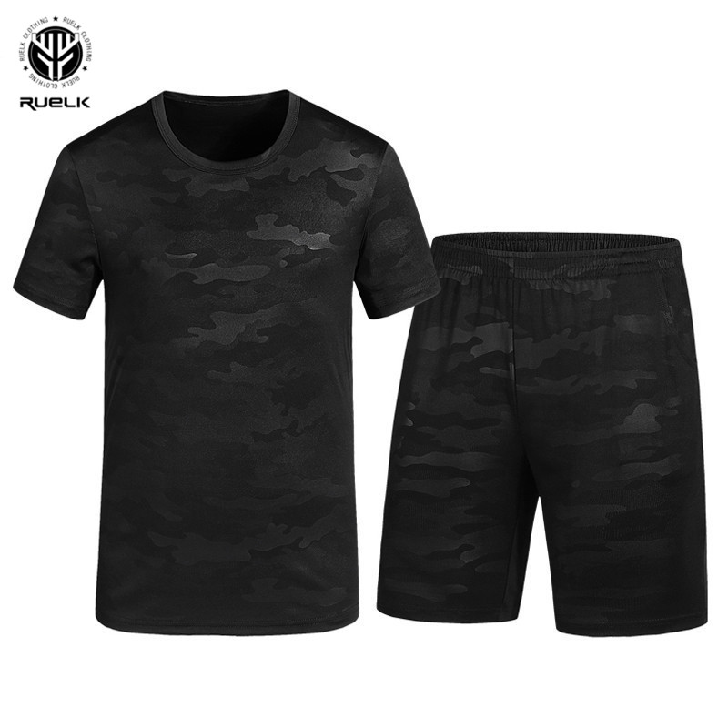 RUELK Fashion New Arrival Mens Sportswear Summer Camouflage Polyester Military Style T-Shirt+Shorts 2 Piece Set Tracksuit Men