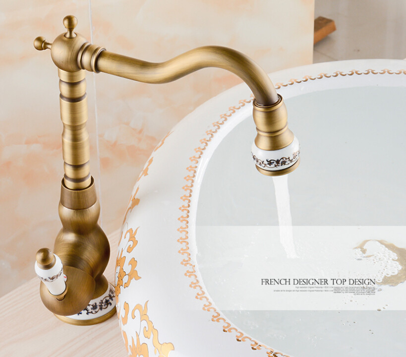 2017 bathroom antique tap basin faucet vintage kitchen sink tap brass tap torneira banheiro basin mixer water bronze faucet
