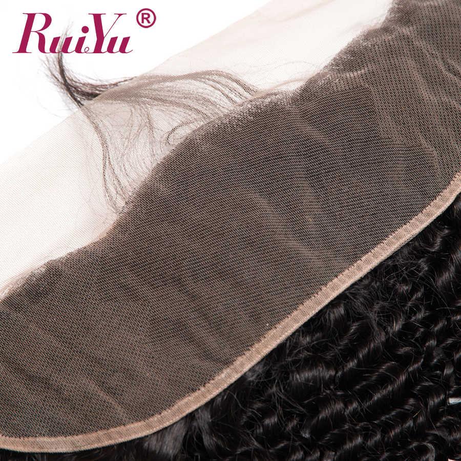 RUIYU brasileño Pelo Rizado rizado encaje Frontal cierre oreja a oreja Pre desplumado cierre Frontal cabello humano con pelo de bebé no Remy