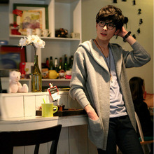 spring 2016 new Korean males's slim knit hooded cardigan younger males's coat outwear jackets