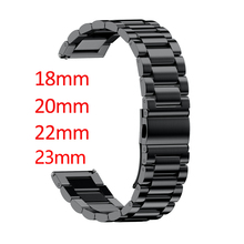 18mm 20mm 22mm 23mm Width Stainless Steel Band for Samsung Gear Sport S2 S3 Galaxy 42mm 46mm Watch Strap Metal Wristband
