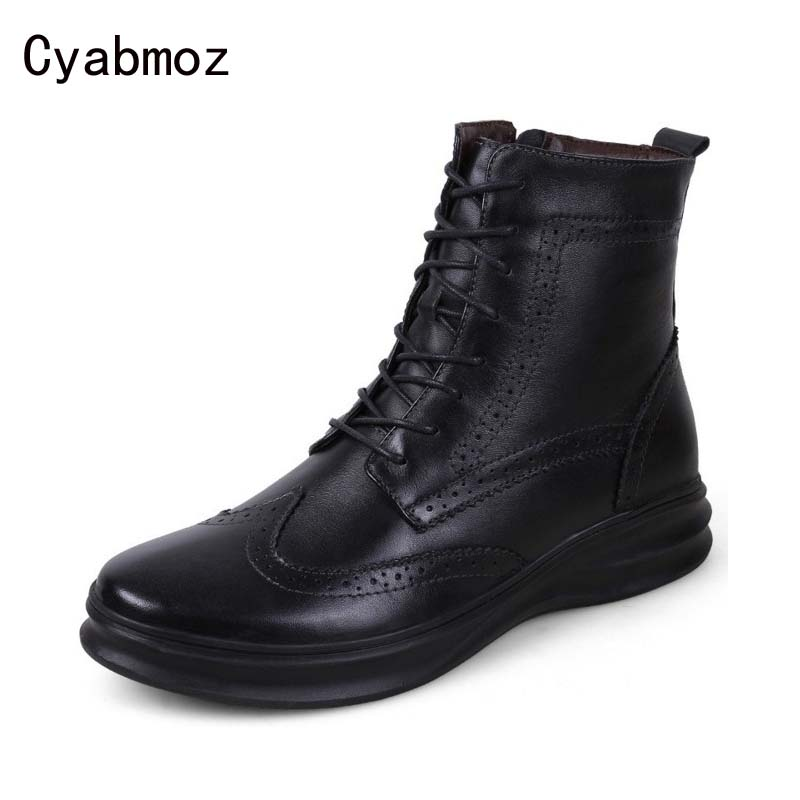 Cyabmoz Brand 2017 British Men Brogue Boots Lace up Men Boots Carving Martin Boots Winter Warm Genuine Leather Platform Men Shoe brogue boots two tone