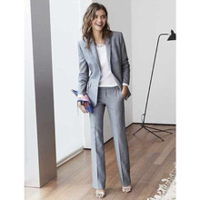 Light Grey Women suit Custom Made Business Office Tuxedos Work Wear One Buttons jacket pants