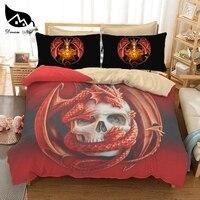 Dream NS Dropship 3D Skull+Dinosaur Duvet Cover Red Pterosaur Bedding Set Queen King size Polyester Bedlinen Home textiles