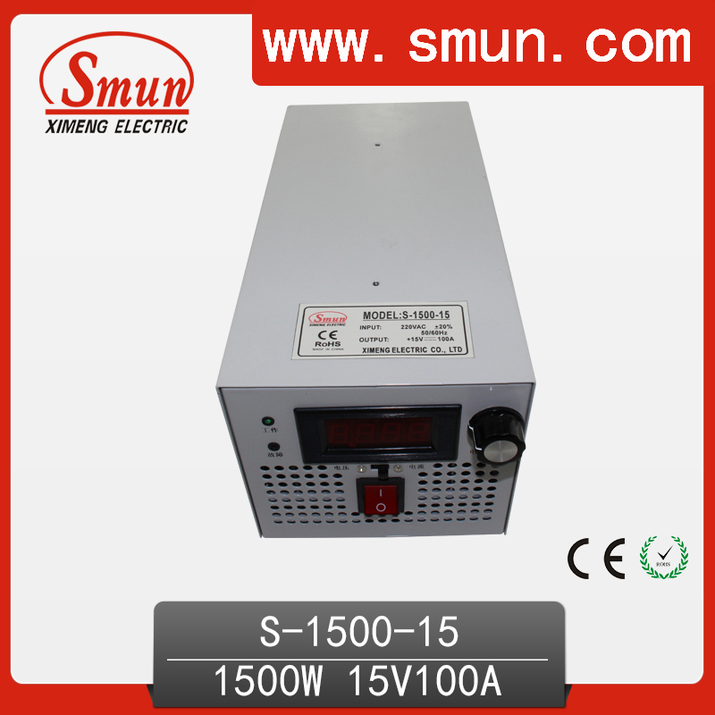 1500W 15VDC 100A Single Output Switching Power Supply AC-DC Switched Power Supply S-1500-15 15 15 1500