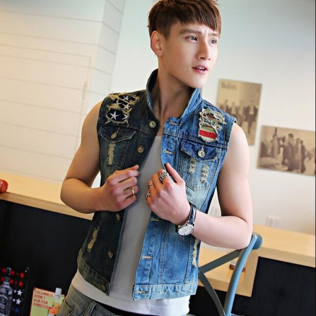 New Mens Denim Causal Vest Jean Jacket Sleeveless Biker Button Trucker Hole Vests Waistcoats Motorcycle chaleco Oversized 4XL