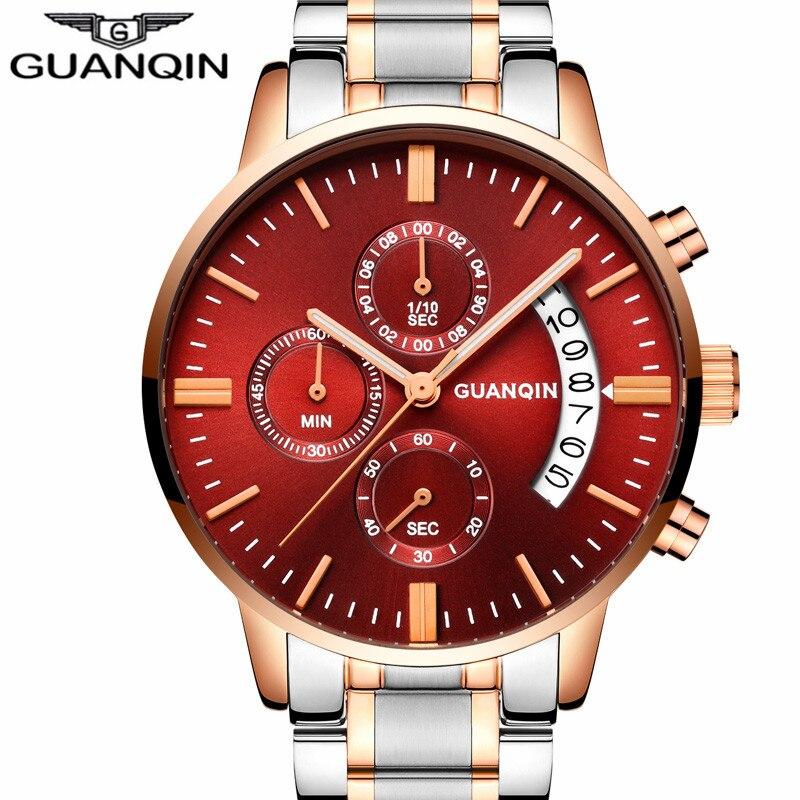 Relogio Masculino hommes montres Top marque de luxe Guanqin montre hommes Sport complet en acier Quartz montre homme mode lumineuse montre-bracelet