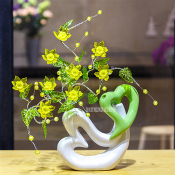 Modern Love Heart Shape Ceramic Vase Ornaments Artificial Flower Living Room Coffee Table Hotel Home Furnishing Decro D-1A/907