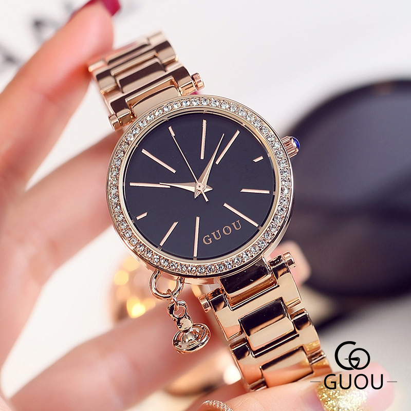 2019 bracelet de montre en acier doré dame ronde zircon diamant pierre cadran mode de luxe femmes quartz montre G8172