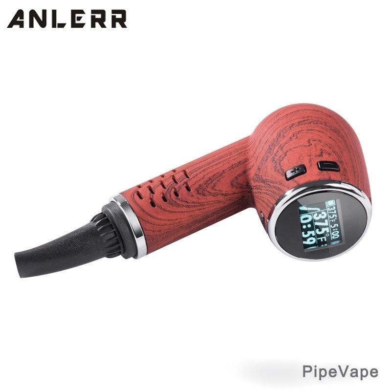 , Anlerr Wooden E Pipe PipeVape Dry Herb Vaporizer Electronic Cigarette 1100mAh TC Herbal Vape Kit with Ceramic Chamber OLED EPipe