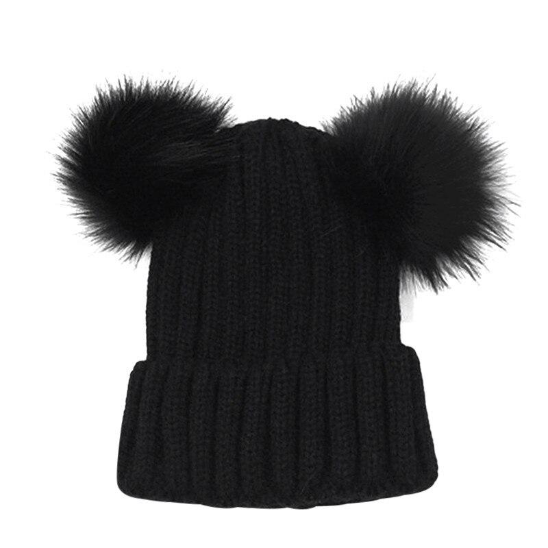 62ae9afea Lovely Faux Fur Women Bonnet Hat Winter Double Pom Pom Chunky Beanie  Knitted Cap Crochet Girl Wool Caps 2018 Warm Bobble Gorros
