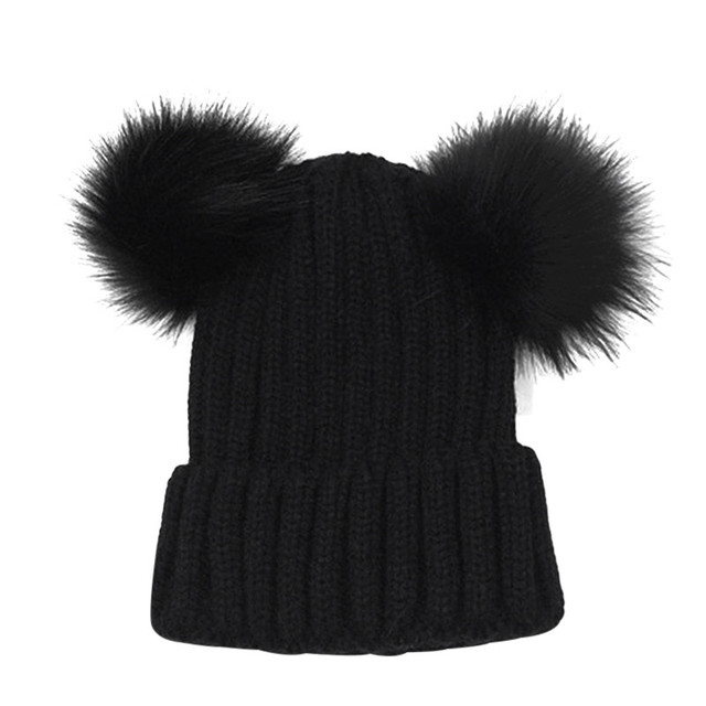 f9aa47b4183 Lovely Faux Fur Women Bonnet Hat Winter Double Pom Pom Chunky Beanie  Knitted Cap Crochet Girl