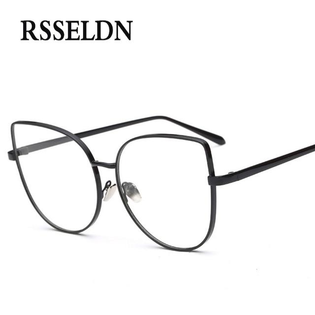 4698b1642 Rsseldn أحدث النساء مصمم النظارات البصرية الإطار القط العين النظارات إطار  واضح عدسة النظارات خمر oculos