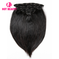 Hot Beauty Hair Clip In Human Hair Extensions Straight Natural Hair Clip Ins Brazilian Remy Hair 120G 7 Pieces/Set Black Color